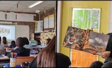 A l'école élémentaire Gustave Courbet de Morsang-sur-Orge, des élèves ont reçu Frédéric Maupomé et Chen Jiang Hong, mardi 2 et jeudi 4 mars 2021.